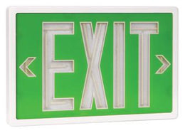 Tritium Double Face Self Luminous Exit Sign Green Face White Housing