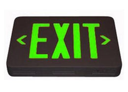 Thermoplastic Exit Sign Green LED Black Housing with Battery Back-up