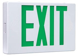 Thermoplastic Exit Sign Green LED White Housing with Battery Back-up