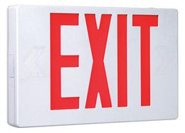 Thermoplastic Exit Sign Red LED White Housing with Battery Back-up