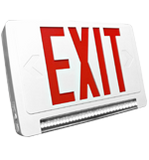exit sign with emergency lights on the bottom