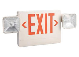 Thermoplastic Combo Exit Sign Red LED White Housing with Battery Back-up