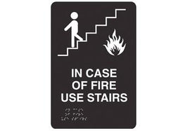 ADA Braille In Case of Fire Use Stairs Symbol