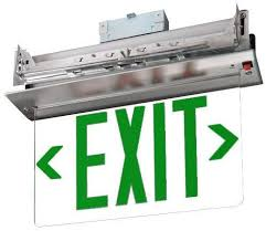 Recessed Ceiling Mount LED Exit Sign- Arrows - Battery- Aluminum-Green