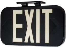 Hybrid Electric and LED Black Exit Sign - Photoluminescent Back-up - UL Certified
