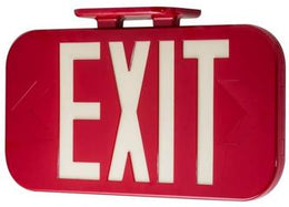 Hybrid Electric LED Red Exit Sign - Photoluminescent Back-up - UL Listed - Made In USA