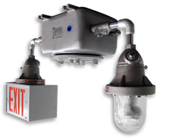 Hazardous Location 12 Volt or 24 Volt DC Volt Combination Exit and Emergency Light Fixture