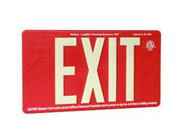 Outdoor Rated Exit Sign - Non Electric RED Background - Wireless Battery Powered