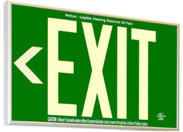 Green Glow in the Dark Non Electric Green Exit Signs - 20 Year Life