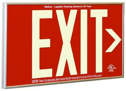 Photoluminescent Red Face Exit Sign - Non Electric - Battery Exit Sign