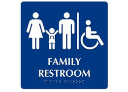 ADA Braille Family Restroom w/ Handicap Symbol. Color: