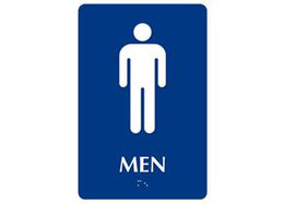 "ADA Braille Restroom Sign. To Read: MEN Size: 6""W X 9"""