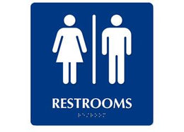 "ADA Unisex (Man and Woman Restroom) To Read: RESTROOM Size: 6""W X 9""H Color:  California Compliant"