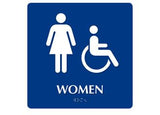 ADA Woman Symbol w/ Handicap Symbol. To Read: WOMEN Color: