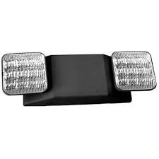 Black Thermoplastic ALL LED Two Head Emergency Light - 90 Minute Battery 5 Year Warranty