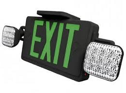 All Led Combo Exit Sign - Green Letters - Black - Battery - UL Listed