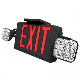All Led Combo Exit Sign - Red Letters - Black - Battery - UL Listed