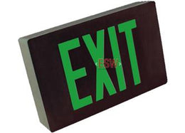 Cast Aluminum Exit Sign Green LED Black Housing With 90 minute battery