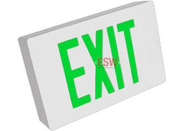 Cast Aluminum Exit Sign Green LED White Housing With Battery Backup