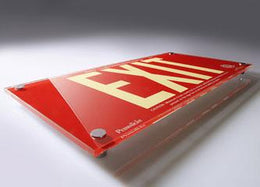 Photoluminescent Designer Series Red Acrylic Exit Sign 50 Feet Viewing Distance - Non Electric