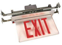 New York City Approved Recessed LED Edge Lit Exit Sign Battery Back-up