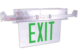 Recessed Ceiling Mounted Exit Signs Green letters aluminum trim plate