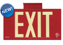 Impact Resistant Metal Photoluminescent Exit Sign UL Listed - Non Electric- Made in USA