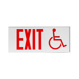 exit sign with wheel chair symbol meets massachusetts code