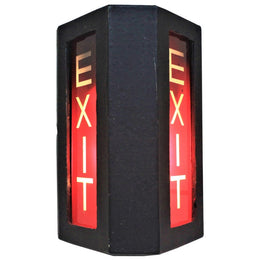 mid century era steel exit signs
