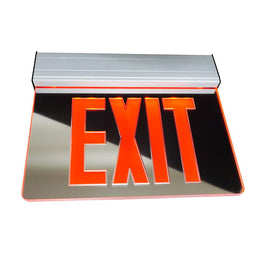 Mirrored edge lit exit sign red letters aluminum housing
