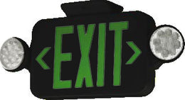 Compact Combination Green LED Exit Sign with Emergency Lights- Black Housing