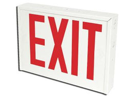 "New York City Requirement Steel Housing Exit Sign - Red LED Exit Sign 8"" Letters and 90 Minute Battery"