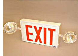 New York City Approved Combo Exit Sign - Side Mounted Dual Heads