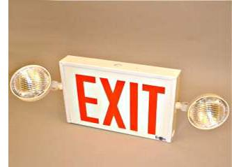 New York Steel Combo Exit Sign With Side Mounted Head Ceiling Mount New York Combo Exit Sign