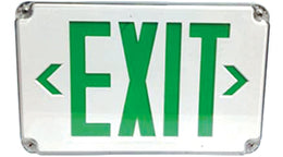 Wet Location Outdoor Green LED Exit Sign with Battery - White Housing - Universal Mount