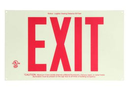 "Photoluminscent Exit Sign with 8"" Red Letters"