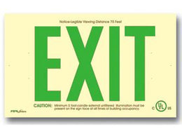 Wireless Exit Sign 50 Feet Green UL Listed - Glow in the Dark