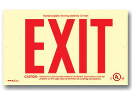 Wireless non electric exit sign surface mount