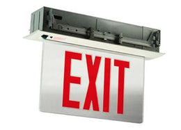 Recessed Mount LED Exit Sign, Bottom Access Panel - Arrows - Battery