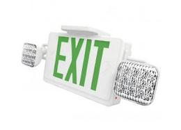 Remote Capable and Self Diagnostic Combo Green Exit Sign and Emergency Light