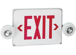 Wet Location Combination LED Exit Sign with MR 16 Emergency lights