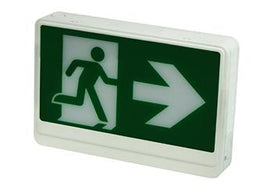 Running Man LED Exit Sign With Directional Arrows - Battery Backup - Universal Mount