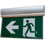 Running Man Edge Lit Exit Sign - Pivoting Panel - Battery