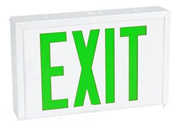 Steel Industrial Exit Sign Green LED White Housing with Battery Backup