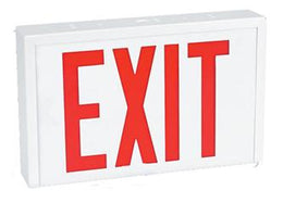 Steel Industrial Exit Sign Red LED White Housing with Battery Backup
