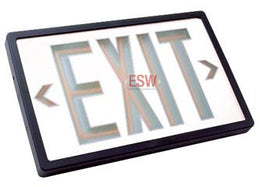 Tritium Self Luminous Exit Sign White Face Black Housing