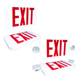 Slim Line Combination Exit Sign with LED Lights Case of 12