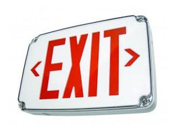 Slim Design Wet Location LED Exit Sign RED with Battery - Universal Mount