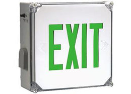 Wet Location Green LED Emergency Exit Sign With Battery Backup