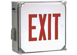 Outdoor Wet Location Red LED Emergency Exit Sign with Battery Backup